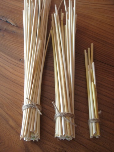 Straw and twine stem bundle
